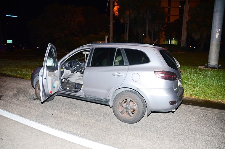 Jones' car as he left it the night of the shooting. - PALM BEACH COUNTY STATE ATTORNEY'S OFFICE