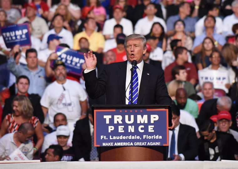 President Donald Trump campaigns at the BB&T Center in 2016. - PHOTO BY MICHELE EVE SANDBERG